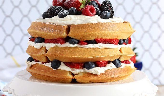 Berry Vanilla Bean Belgian Waffle Cake // Video