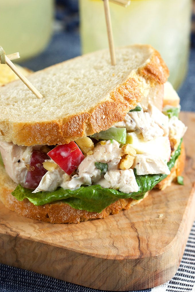 Quick, easy and a classic, this Chicken Waldorf salad recipe is perfect for easy weeknight dinners.   TheSuburbanSoapbox.com