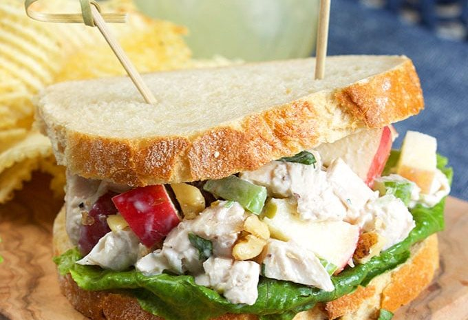 Quick, easy and a classic, this Chicken Waldorf salad recipe is perfect for easy weeknight dinners. | TheSuburbanSoapbox.com