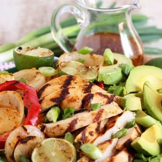 Grilled Chicken Fajita Salad with Honey Lime Vinaigrette