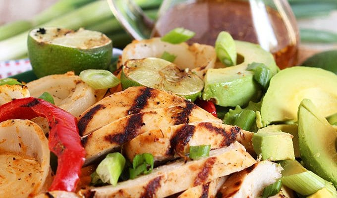 Grilled Chicken Fajita Salad with Honey Lime Vinaigrette