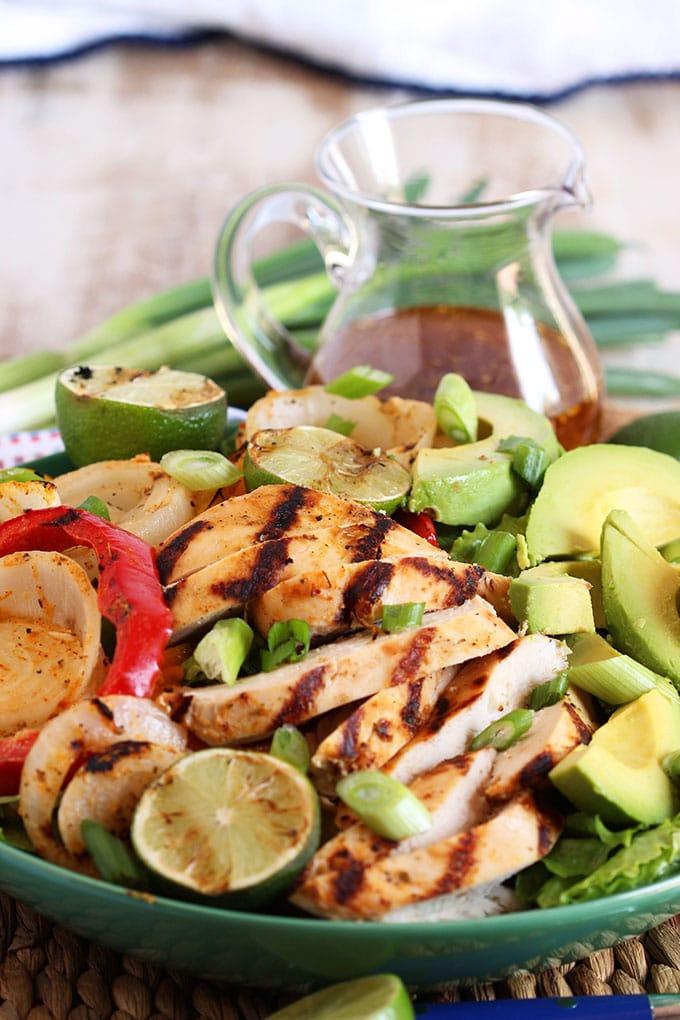 Grilled Fajita Chicken Salad with Honey Lime Vinaigrette | TheSuburbanSoapbox.com