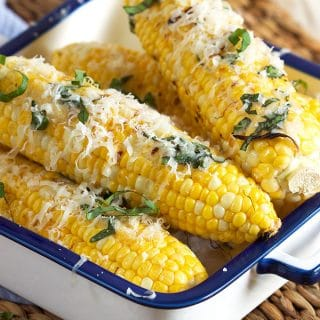Basil Parmesan Grilled Corn on the Cob