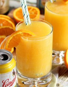 "A manly brunch cocktail fit for dad, this Manmosa Recipe is made with a mix of beer, vodka and champagne for true ""put hair on your chest"" flavor! 