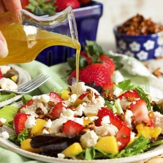 Strawberry Mango Chicken Salad with Honey Roasted Sunflower Seeds