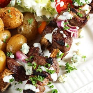 Grilled Steak and Mushroom Kabobs with Blue Cheese Sauce