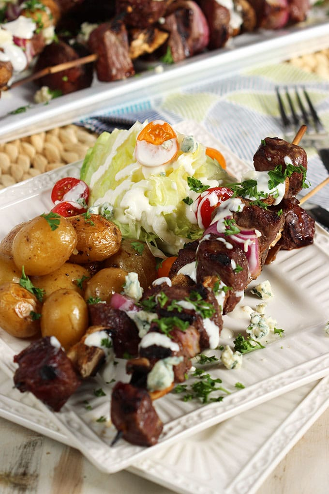 Quick and easy, Grilled Steak and Mushroom Kabobs with Blue Cheese Dressing is the perfect summer dinner for busy weeknights!   TheSuburbanSoapbox.com