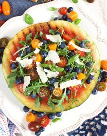 Grilled Watermelon Pizza with Blueberries, Parmesan and Arugula recipe | TheSuburbanSoapbox.com