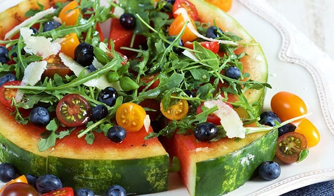 Grilled Watermelon Pizza with Blueberries, Parmesan and Arugula