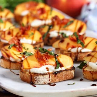 Honey Ricotta Peach Crostini with Crispy Pancetta