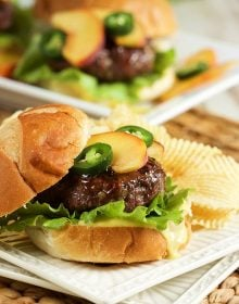 A savory and sweet combo everyone will love, this Peach Glazed Blue Cheese Burger will be the hit of your summer cookout or tailgate! | TheSuburbanSoapbox.com