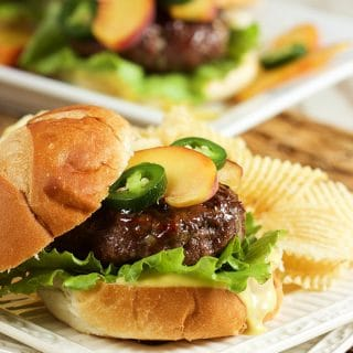 Peach Glazed Blue Cheese Burgers with Honey Jalapeño Mayonnaise
