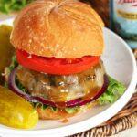 Maple Bourbon Burger with Bacon Mustard Sauce | TheSuburbanSoapbox.com