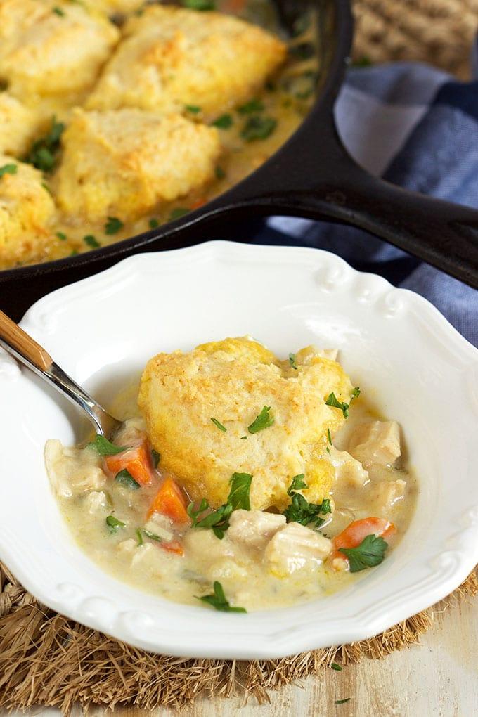 Chicken and Dumplings Skillet Casserole Recipe | TheSuburbanSoapbox.com