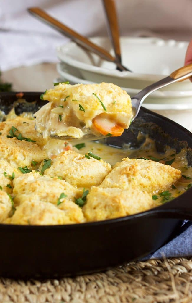 Chicken and Dumplings Skillet Casserole Recipe | TheSuburbanSoapbox.com