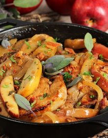 Apple Cider Brined Pork Chops with Apples and Bacon Skillet Recipe | TheSuburbanSoapbox.com