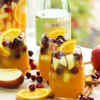 Fall in a glass! Super easy Sparkling Apple Cider Sangria is ready in minutes and perfect for every holiday! | TheSuburbanSoapbox.com