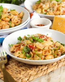 One Pot Mediterranean Tuna Pasta Skillet | TheSuburbanSoapbox.com
