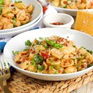 One Pot Mediterranean Tuna Pasta Skillet