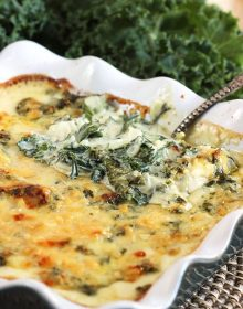 Super easy to make, Cheesy Kale Gratin Recipe is the perfect holiday side dish. Family approved! | TheSuburbanSoapbox.com