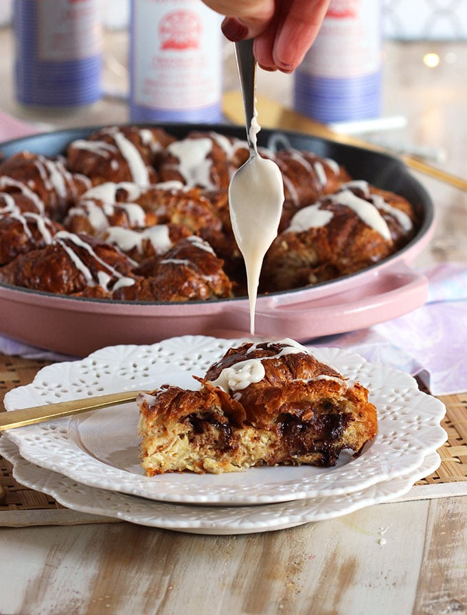 Chocolate Stuffed Croissant French Toast Casserole | TheSuburbanSoapbox.com
