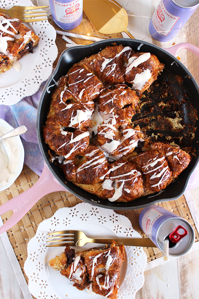 Super easy brunch recipe, Chocolate Stuffed Croissant French Toast Casserole is fast and impressive! Wow your guests this holiday season! | TheSuburbanSoapbox.com