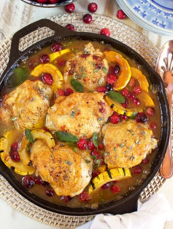 Maple Mustard Chicken Skillet with Cranberries and Delicata Squash   TheSuburbanSoapbox.com
