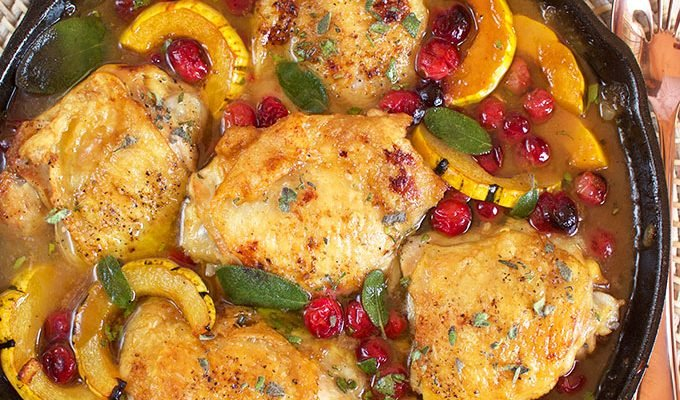 Maple Mustard Chicken Skillet with Cranberries and Squash