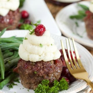 Mini Meatloaf Cupcakes with Cranberry Glaze
