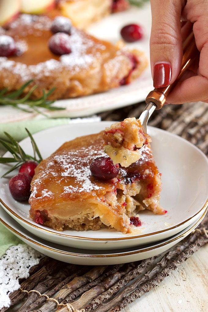 Slow Cooker Apple Cranberry Upside Down Cake | TheSuburbanSoapbox.com