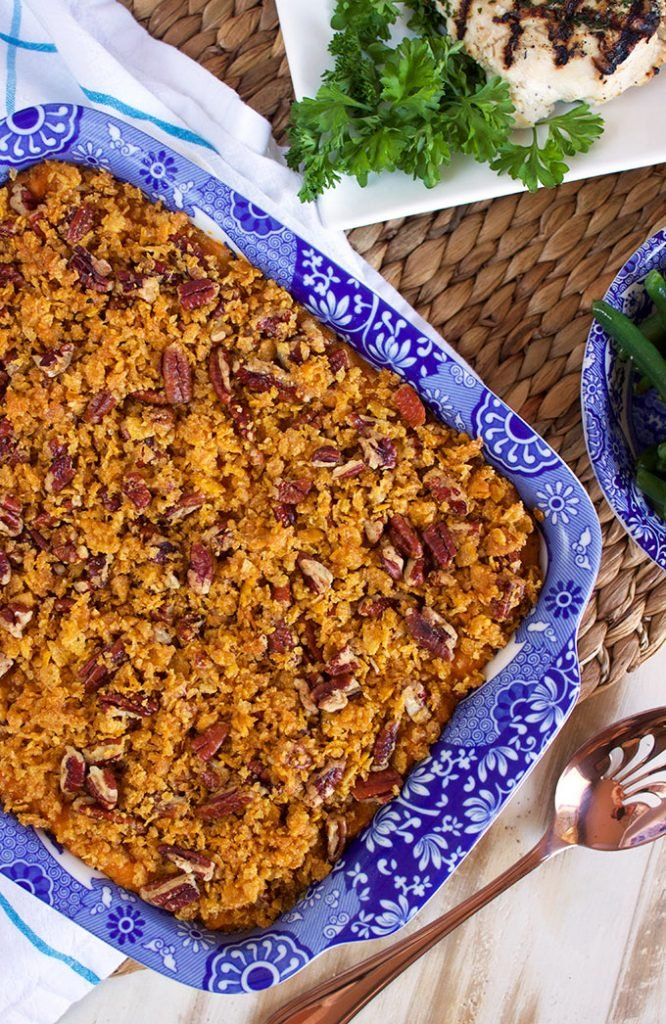 Sweet Potato Casserole with Cornflake Pecan Crust | TheSuburbanSoapbox.com