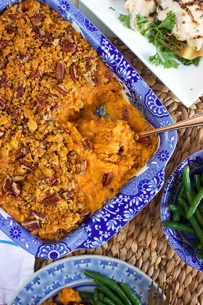 Super quick and easy, the Best Sweet Potato Casserole with Cornflake Pecan Crust is a Thanksgiving must have. A great make ahead side dish for every holiday and occasion. | TheSuburbanSoapbox.com