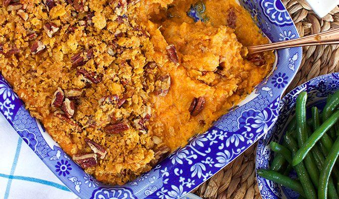 Sweet Potato Casserole with Cornflake Pecan Crust