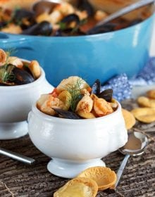 French Seafood stew (bouillabaisse) in a white footed bowl from TheSuburbanSoapbox.com
