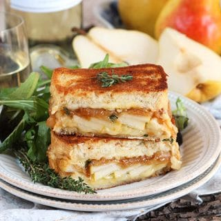 Caramelized Onion Pear Grilled Cheese Sandwich and a Harry & David Giveaway