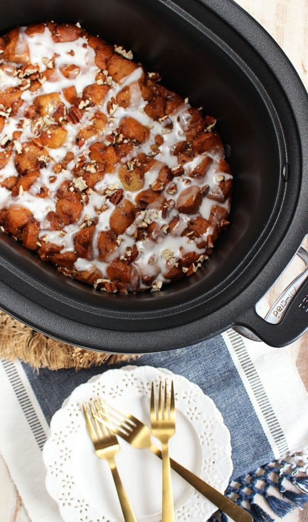 Slow Cooker Cinnamon Roll French Toast Casserole | TheSuburbanSoapbox.com