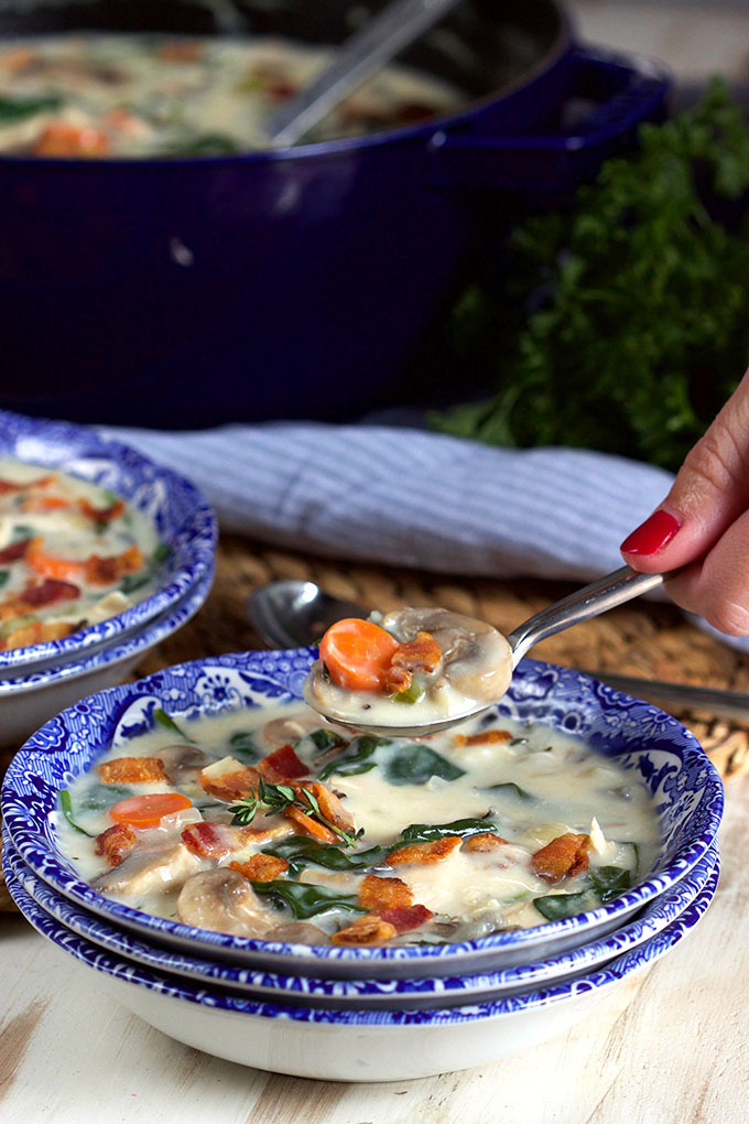 Easy Creamy Chicken and Wild Rice Soup Recipe | TheSuburbanSoapbox.com