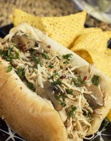 Slow Cooker Chicken Philly Cheesesteak Sandwich | TheSuburbanSoapbox.com