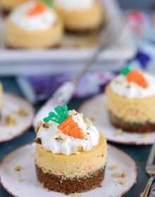 Mini Carrot Cheesecake on a white plate on a blue background from TheSuburbanSoapbox.com