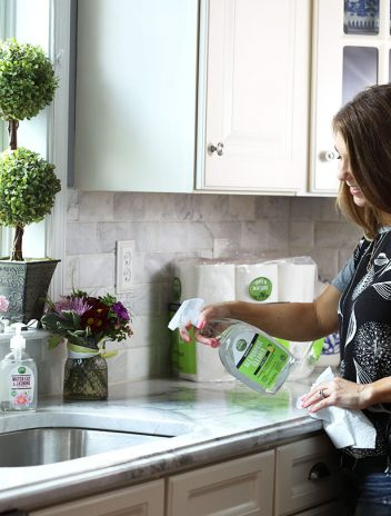 Cleaning the kitchen counters with Open Nature All Purpose Cleaner.