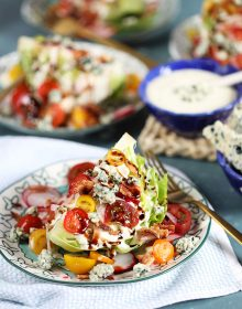 Iceberg Wedge Salad on a blue and white plate with a gold fork from TheSuburbanSoapbox.com