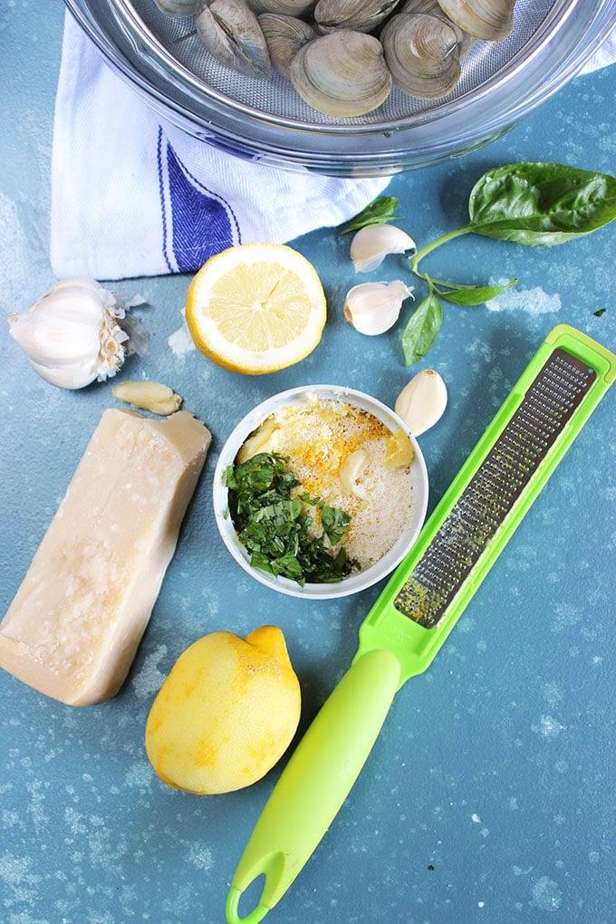 Ingredients for Garlic Parmesan Basil Butter.