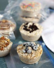 Steel Cut Oatmeal freezer muffins in zip top bags.