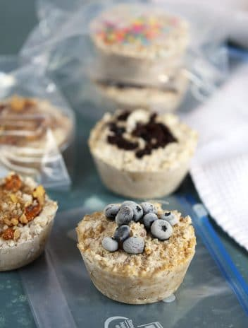Steel Cut Oatmeal freezer muffins in zip top bags.