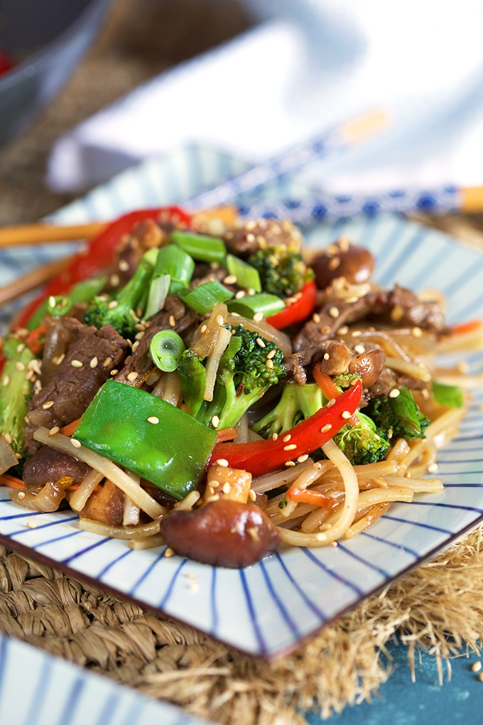 Close up shot of Beef Stir Fry on a square plate.