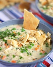 Chicken Pot Pie soup in a blue bowl.