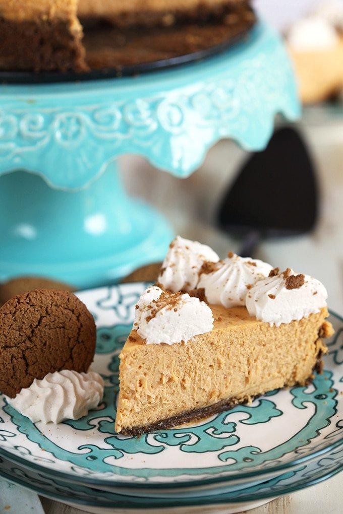 Pumpkin Cheesecake slice on a decorative plate with a gingersnap cookie on the side.