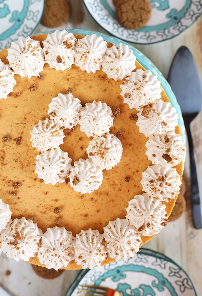 Overhead shot of Pumpkin Cheesecake with gingersnap crust.