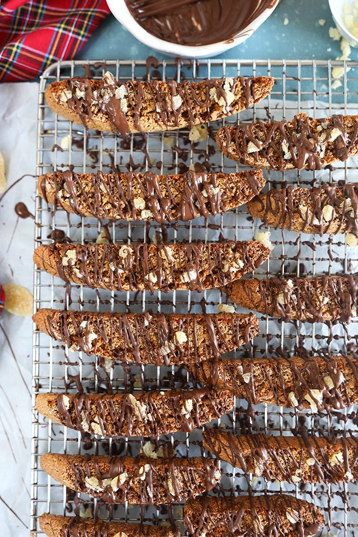 Overhead shot of biscotti on a cooling rack.