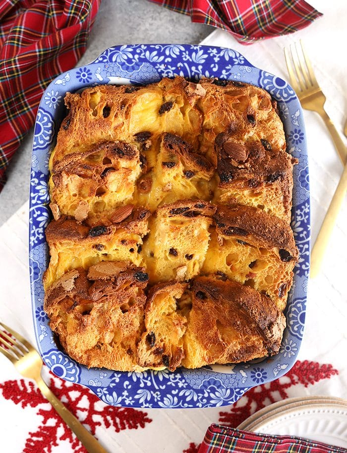 Overhead shot of Panettone French Toast Casserole in a blue and white casserole dish.